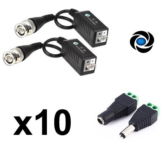 Pack X 10 Balun Hd Ahd Cvi Tvi Plug Par Dc Utp Cctv Camara Seguridad Dvr