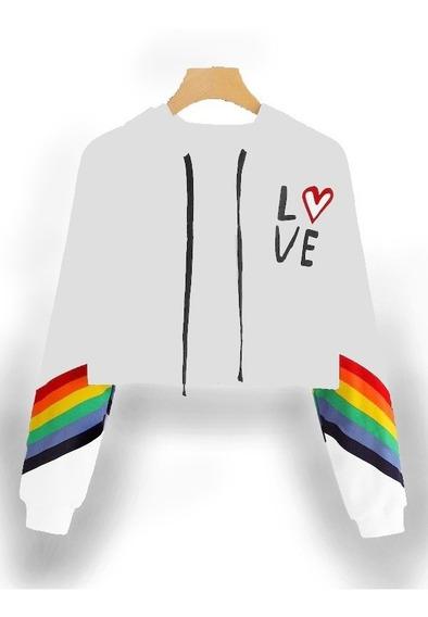 Moletom Cropped Lgbt Cores Parada Gay Amor É Amor 2 Frete