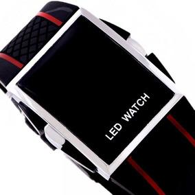 Relógio Masculino Sport Black Led Digital Iluminado Vermelho