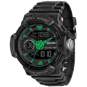 Relógio X-games Masculino Anadigi Xmppa176 Preto Verde