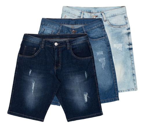 Imagem 1 de 7 de Kit 3 Bermudas Jeans Rasgada Desfiada Masculina Original
