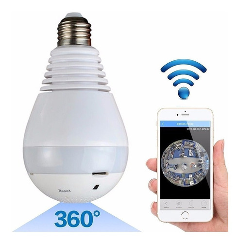 Imagen 1 de 6 de Camara Ip Wifi Foco Espia Parlante Sensor Lente 360º Led