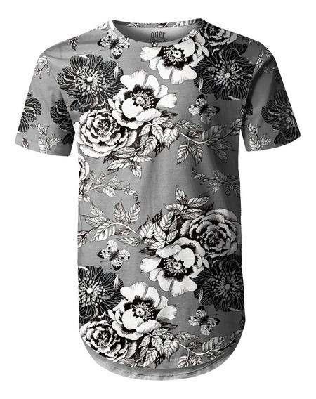 Camiseta Masculina Longline Swag Flor Da Ameixeira Cinza