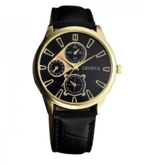 Relógio De Pulso Luxo Pulseira De Couro Geneva