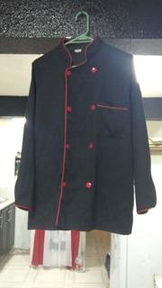 Uniforme De Chef Completo (negro Con Bordes Rojos)