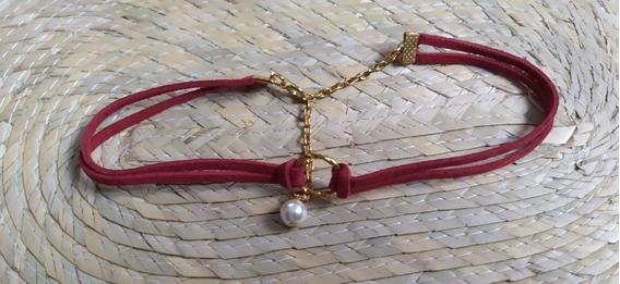 Choker Rojo Argolla Gargantilla Fantasía Moda