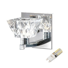 Arandela Interna Vidro Cristal Espelho Lavabo Alz5 + Led 3w