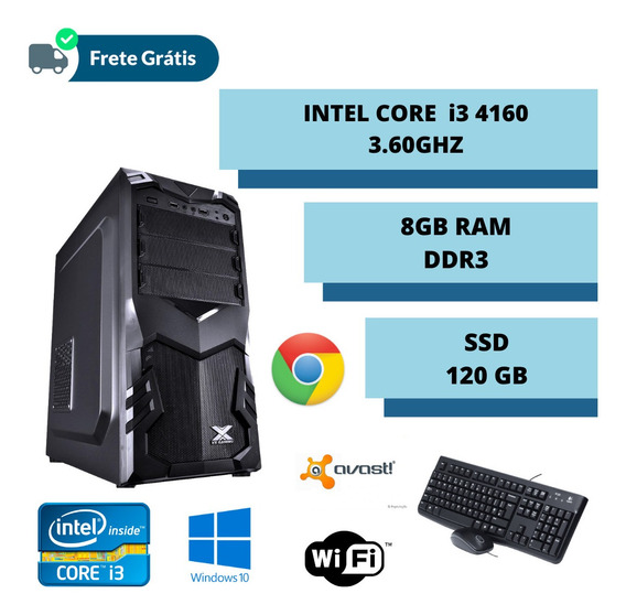 Cpu Montada Core I3 3.60ghz 8gb Ddr3 Ssd 120gb Win 10 Oferta