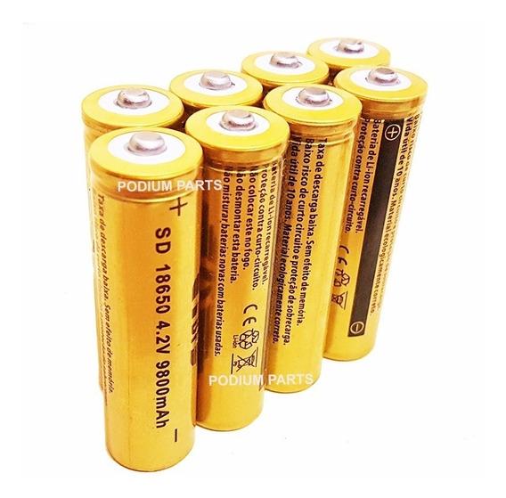 Kit 8 Baterias 18650 Gold 9800mah 4,2v Lanterna Tática Led