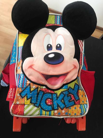 Mochila Carro Con Ruedas Mickey Disney Store Original