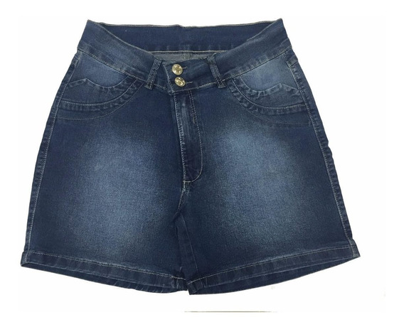 Short Feminino Jeans Bordada Pequeno Defeito Plus Size 9017