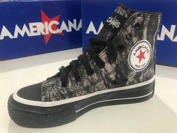 Zapatillas Botitas De Lona Americanas Negras Y Gris