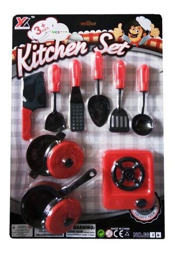 Set De Cocina Utensilios Juguete Ollas Y Estufa 6604