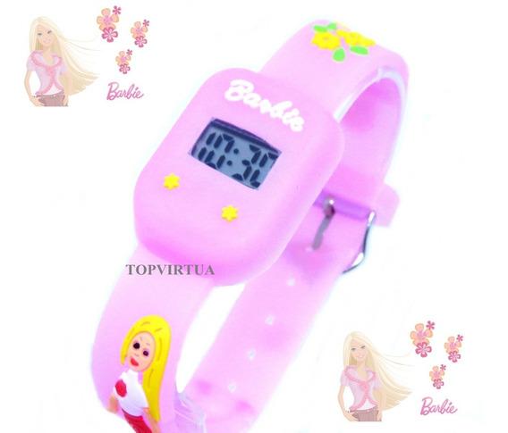 Relógio Barbie Quadrado Infantil Digital Rosa Bebê 3d Oferta