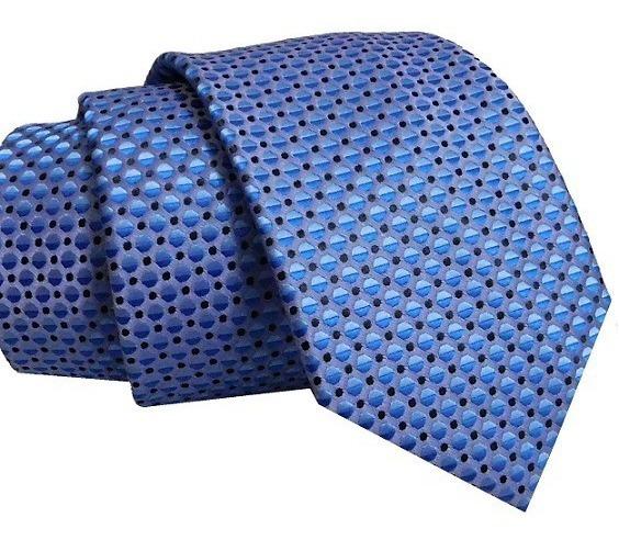 Corbata Azul Claro Con Bolitas Negras