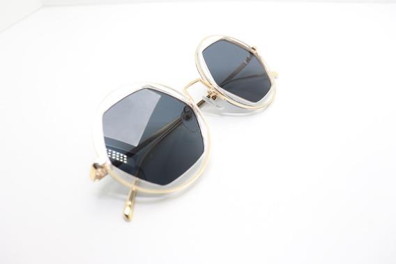Óculos De Sol Espelhado Retrô Formato Octagonal