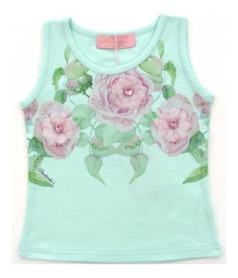Regata Cotton Decote Flores Verde Pituchinhus 9408