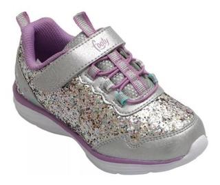 Zapatillas Mini Footy Glitter Brillito Lila Plateado Fty