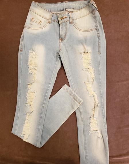 Calça Jeans Skinny Destroyed Azul Claro Planet Girls