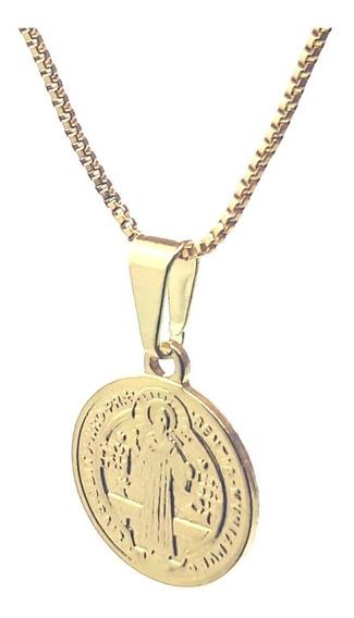 Colar Gargantilha Com Medalha De São Bento Banhado Ouro 18k - Eo 0017 Cl