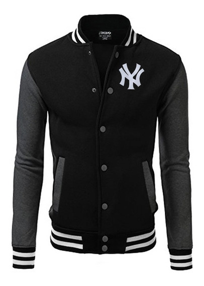 Jaqueta Blusa Baseball New York Bordado Black Edition