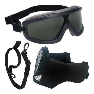 Oculos X400 Airsoft Mascara Meia Face Confort Luva Combat