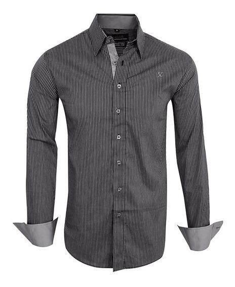 Camisas Elastizadas A Rayas Slim Fit - Quality Import Usa