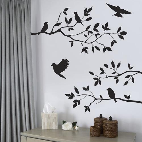 Imagen 1 de 3 de Diseño Pájaros Y Ramas De Árbol Vinilo Decorativo Decoración