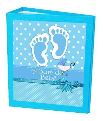 3 Álbum Do Bebê Pé Azul 15x21 - 120 Fotos + Brinde Especial*