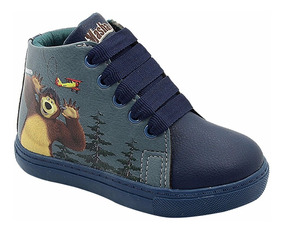 Tênis Infantil Menino Masculino Cano Alto Masha Urso Azul