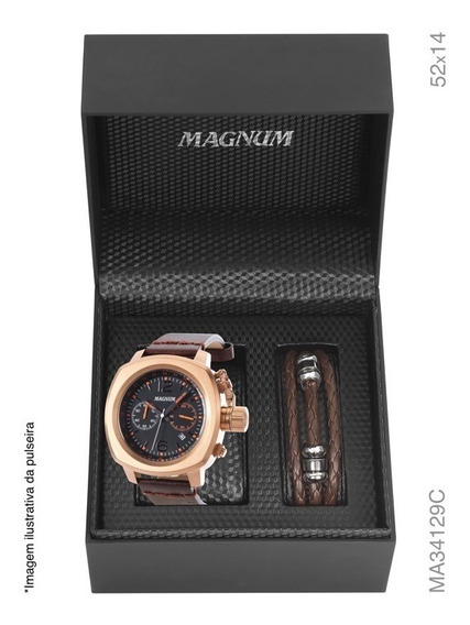 Kit Relógio Masculino Magnum Cronógrafo Ma34129p Marrom