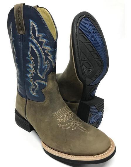 Bota Texana Country Masculina Jácomo Bico Redondo Cano Azul