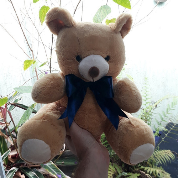 Ursinho Presente Pelúcia Urso De 30cm Bege Com Gravata Azul