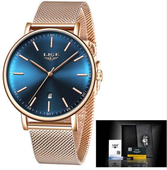 Relógio Feminino Original Lige Luxo Aço Moda Top Promoção