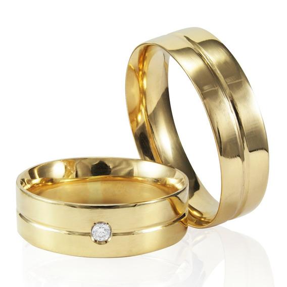 Alianças Ouro 18k 6mm 14g Com Diamante 4pts Casamento