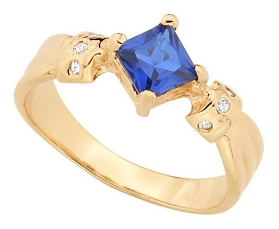 Anel Formatura Cristal Azul Joia Folheada Rommanel 512152