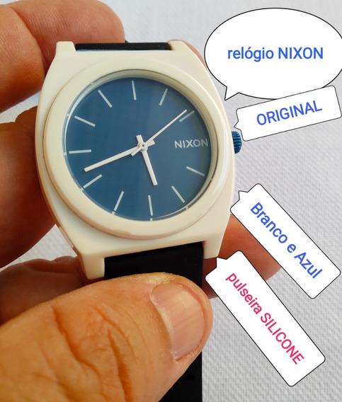 Relogio Original Nixon Time Teller Branco Azul Lindo Veja