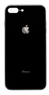 Tapa Cristal Trasera iPhone 8 Plus Color Negro Con Detalle