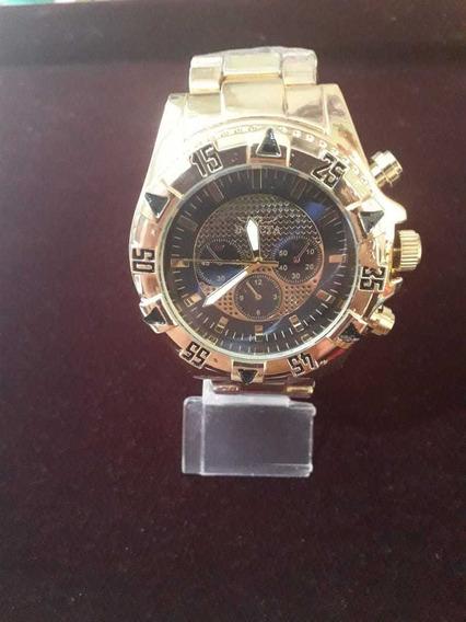 Relógio Dourado Catraca Giratoria