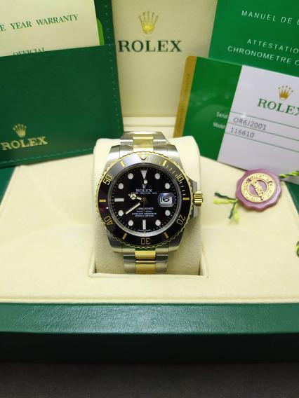 Relogio Rolex Submariner Misto Preto Com Caixa - Dourado/aço Promoção