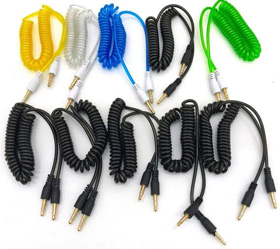 10 Cabo Auxiliar P2 X P2 Espiral Colorido Stereo Mp3 Áudio