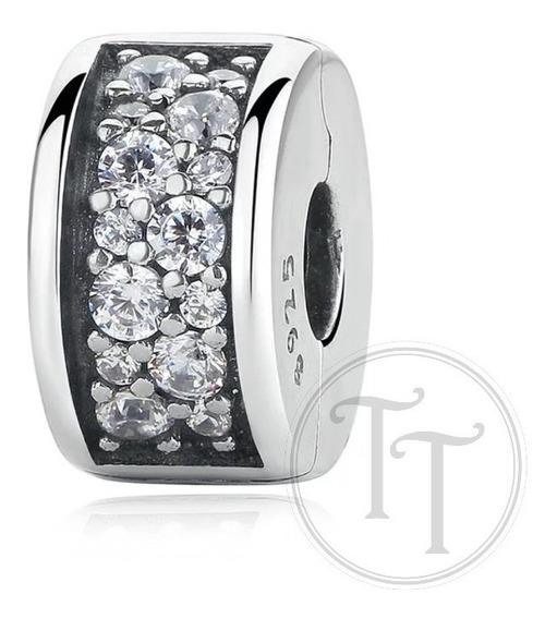 Charm Clip Plata Esterlina 925 Pzve Zirconias Corte Diamante