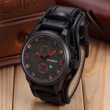 Relógio Curren Preto Couro Sintético