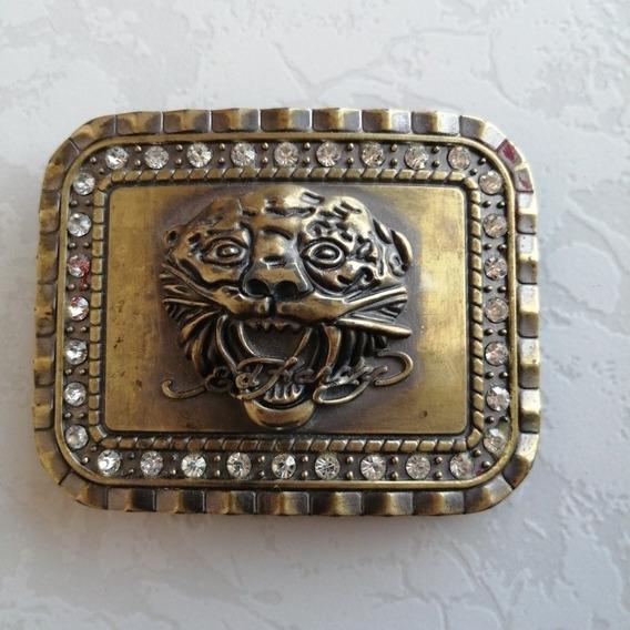 Hebilla De Cinturón Con Tigre Y Brillantes Bronce 7.2x 9.3cm