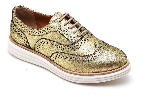 Sapato Oxford Feminino Flatform Sola Alta De Cadarço 300