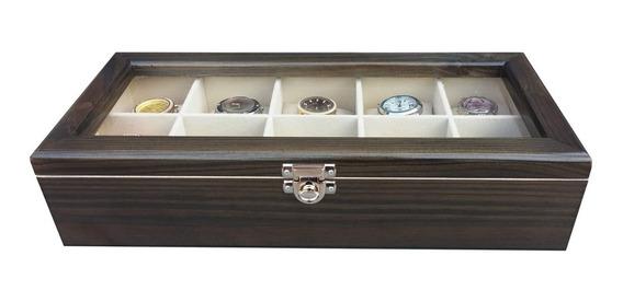 Caixa/estojo Para 10 Relógios Madeira-ébano Flocado De Bege