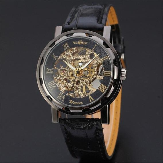 Relógio Masculino Winner Skeleto Mecânico Dourado Promoção