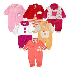 Atacado C/ 6 Macacão Bebê Plush Meninas Maternidade Inverno
