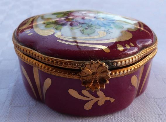 Monijor62-antigua Caja Porcelana Limoges Pintada A Mano