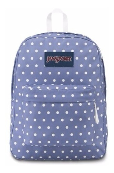 Mochila Jansport Superbreak Bleached Denim White Dot Full